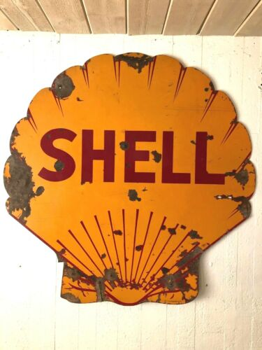 """PORCELAIN  SHELL OIL & GAS  48""""  ORIGINAL SHELL SHAPED DOUBLE SIDED SIGN"""