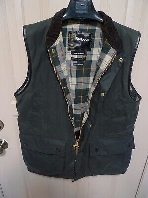 BARBOUR-   WESTMORLAND WAXED COTTON WAISTCOAT-  SAGE -SIZE LARGE