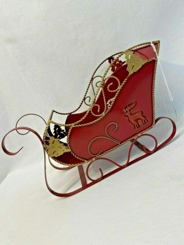 Metal Red Sleigh Christmas Decorative Holiday House Figurine Sled Seasonal
