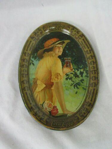 """1916 VINTAGE COKE  COCA-COLA COKE TIN ADVERTISING TIP TRAYS """"ELAINE""""   M-585"""