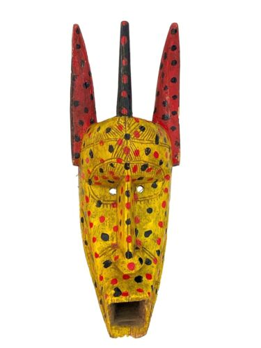 "African Lg Old Colorful  Antelope Mask Bozo Bamana 18.5"" H"