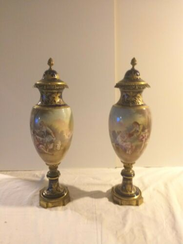 Antique Pair of French Sevres ,vase,19th Century Urns 19 inches
