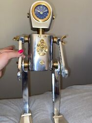 PENDULUX Karl the Robot Table Desk Clock - Aluminum Solid Brass - Atomic Age