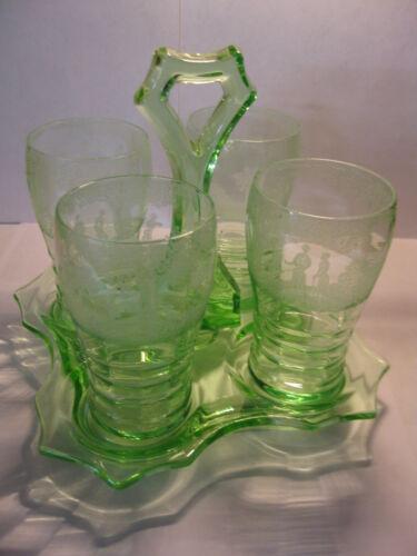 SALE  Very RARE Cambridge lt. Emerald beverage set GOLF etch 4 tumblers + tray
