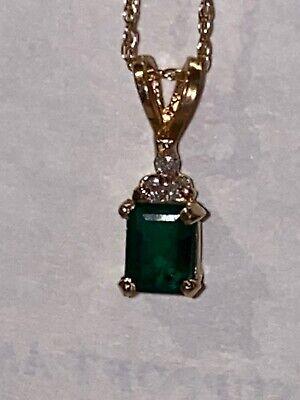 14k Gold Chain With Emerald Stone And Diamonds tweedehands  verschepen naar Netherlands