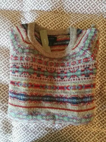 J Crew Sweater Mens Size Small S Cream Tan Fair Isle New With Tags  - $89.99