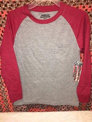 NWT American Warehouse Boys 6/7 Long Sleeved Baseball Style Shirt Red/Gray Sz (Warehouse Fashion Square)