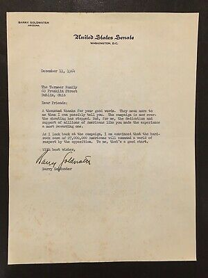 1964 BARRY GOLDWATER Signed Letters & Photograph Congress Presidential Candidate