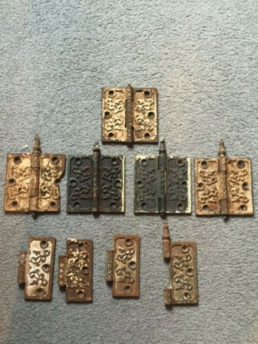RARE OLD 18TH CENTURY FARMHOUSE ANTIQUE CAST IRON DOOR HINGES
