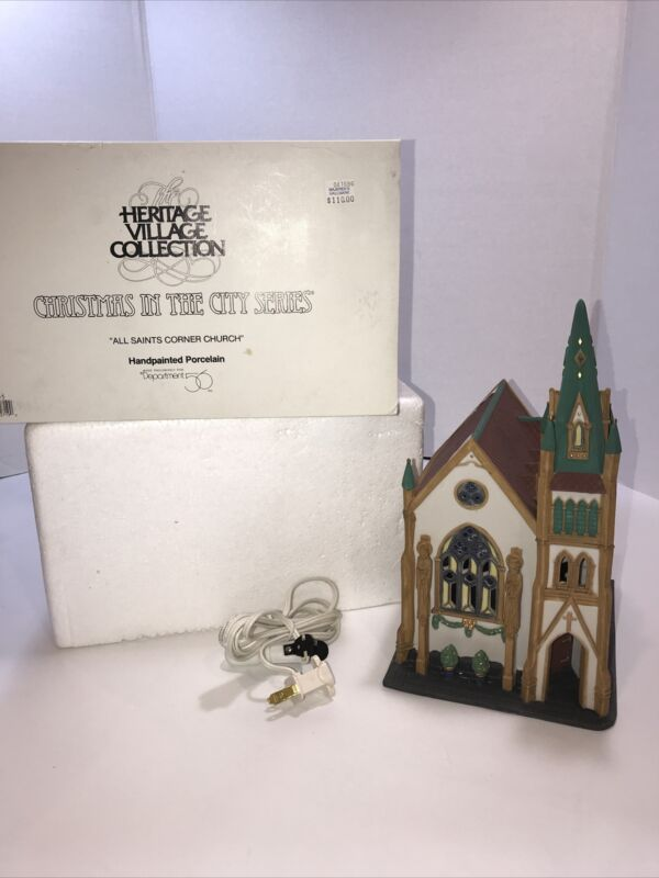 Dept 56 All Saints Corner Church 55425 retired Village Christmas in the City