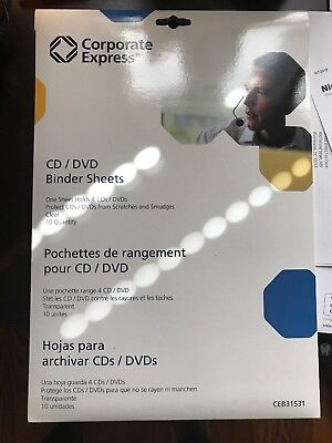 Cd / Dvd Protector Sheets (10 CD/DVD Protector Sheets for 3-Ring Binder from Corporate Express CEB31531 )