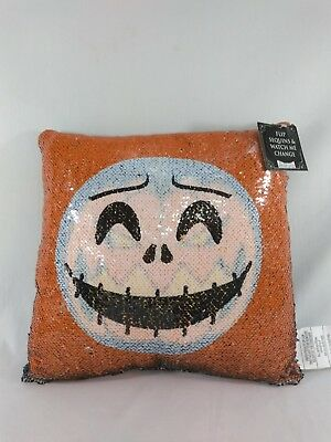 Nightmare Before Christmas Pillow (Jack Skellington the Pumpkin King Nightmare Before Christmas Sequin Pillow)