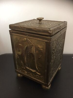 Antique Brass over Wood Tin Lined Tea Caddy