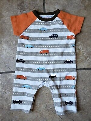 0-3 month boy clothes Dwell Studio Romper with cars and trucks Cute!!