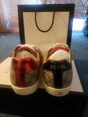 NIB GUCCI Ace GG Supreme Canvas Leather Sneakers Shoes 8.5/39 EU $590