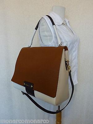 NWT FURLA Brown/Cream/Beige Pebbled Leather Large Penelope Shoulder Bag $698