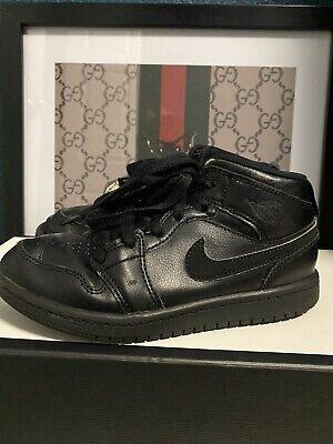 Nike Air Jordan 1 Hi Triple Black Boys Sz 1Y Best Price! Free Shipping!