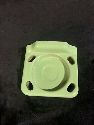 Vintage Jadeite Green Porcelain Bathroom Toothbrush Cup Holder Hardware Retro