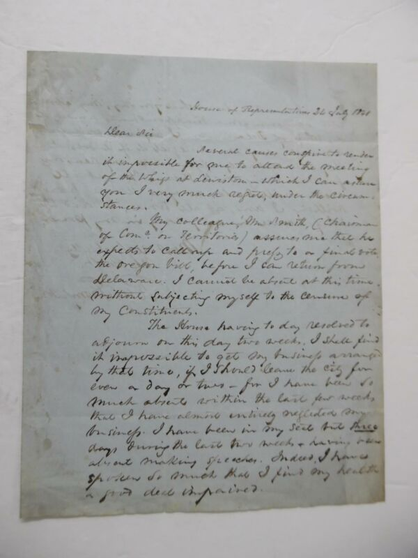1848 Richard W Thompson Letter Signed Indiana Whig Congressman Oregon Bill Vote