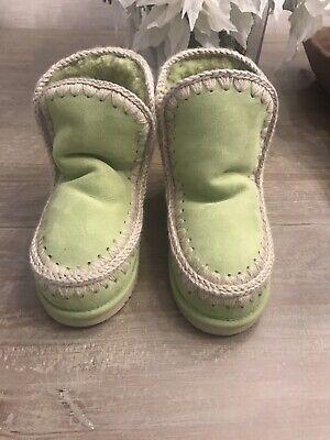 Mou Sheepskin Wool Eskimo Sneaker Green Size 37 European. New