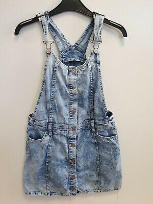 GIRLS  JORDACHE DENIM ACID WASH BLUE DUNGAREE DRESS XL AGE 14-16 W26-30