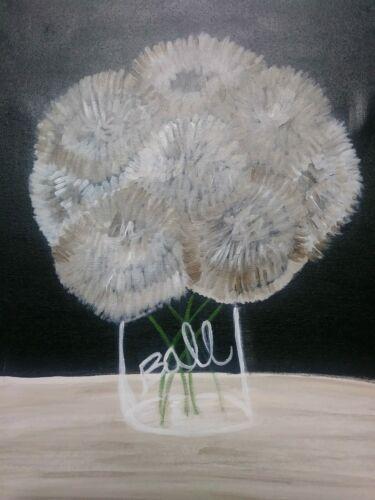 Original Oil Painting Pop Art Flowers Still Life Outsider Art Ball Jar Signed - $75.00