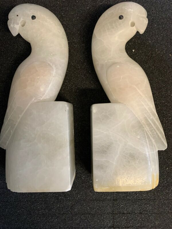Pair Vintage Carved Italian Alabaster Marble Parrots Birds Bookends