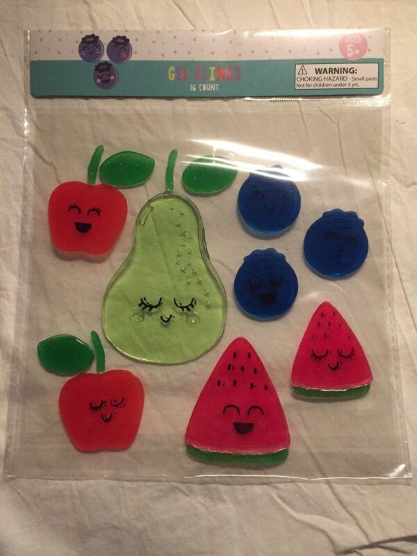 NEW Smiling Happy Pear Apples Watermelon Blueberry Fruit Window Gel Clings 16 ct