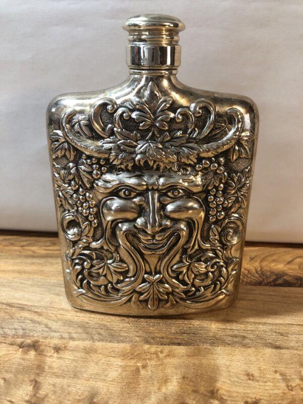 """Vintage 1983 Godinger Bacchus Face 6"""" Flask Silver Plated"""
