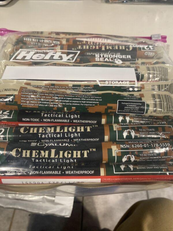 "Cyalume Military Chemlight Light / Glow Sticks 6"" Red /Bag Of 20 Count 12 Hr"