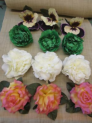 BEAUTIFUL LOT OF UNUSED VINTAGE FLOWERS  MILLINERY SUPPLIES  FLORAL CRAFTS b