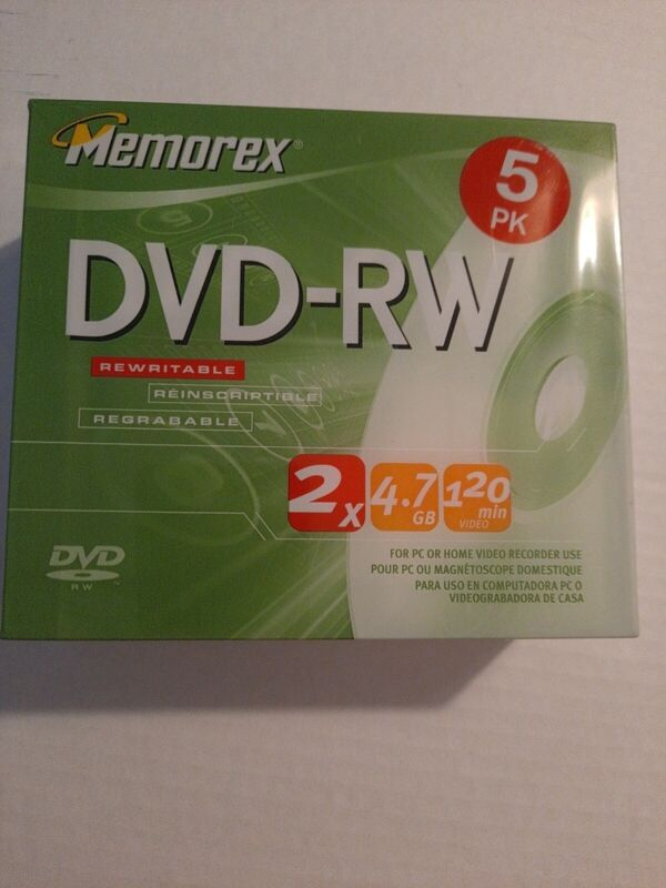 Memorex DVD-RW 5 Pack  2x 4.7GB 120 Mins For PC Or Home Video Recorder New