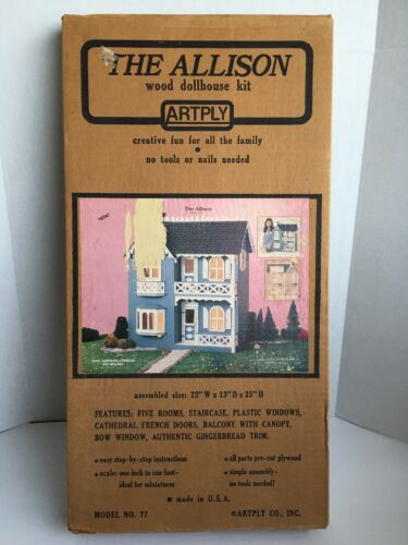 Artply Wood DollHouse Kit The Allison Vintage 1983 Model No 77 Made In USA