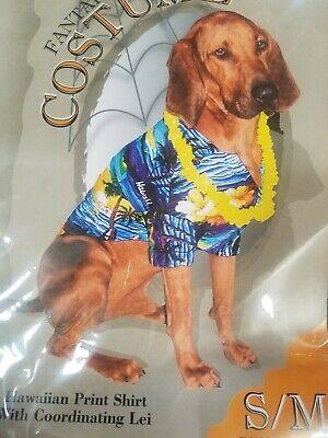 Matching Dog Costumes (Doggiduds Moon Doggie Hawaiian Print Shirt w/ matching Lei costume)
