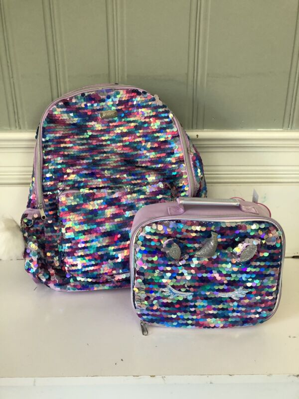 Justice Unicorn Flip Sequin hooded Backpack And Lunch Tote NEW 2019 🦄💜🦄
