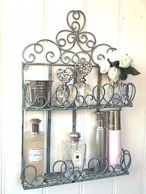 French Vintage Style Metal Wall Shelf Unit Storage Cabinet Bathroom Shabby Chic
