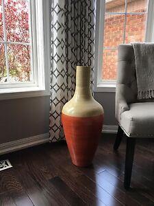 Orange and cream vase