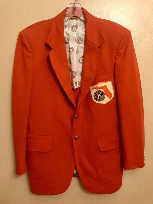 Vtg 1980s Kiwanis International club of Miami Orange Walton Blazer Sport Jacket