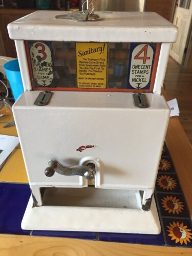 RARE MODEL 32 AP STAMP MACHINE /  NORTHWESTERN CORP/WHITE PORCELAIN
