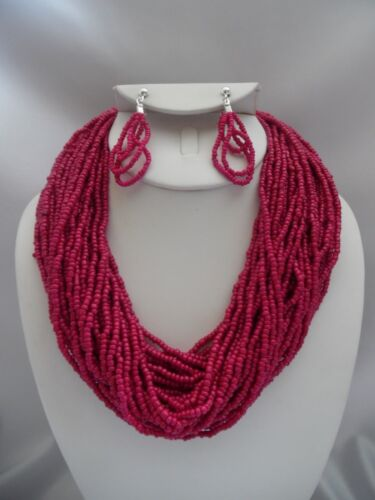 Pierced multi layered pink seed bead necklace earrings set