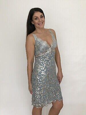 JENNY PACKHAM Silver Blue Sequin Sleeveless V Neck Evening Prom Dress UK 12