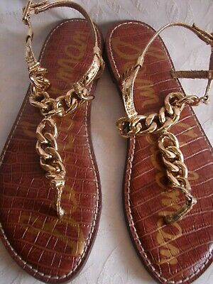 Sam Edelman GRELLA Leather Chain Link Thong Sandal Size 8.5 Chain Link Thong