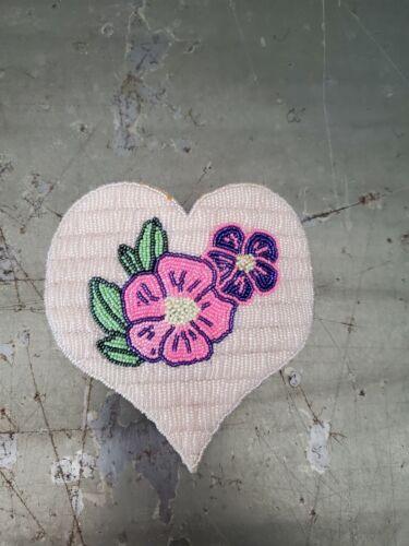 "Navajo Large heart floral Beaded Hair Barrette   4 1/2"""