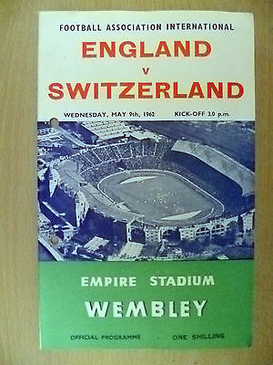1962 Friendly Internationals - ENGLAND v SWITZERLAND, 9 May