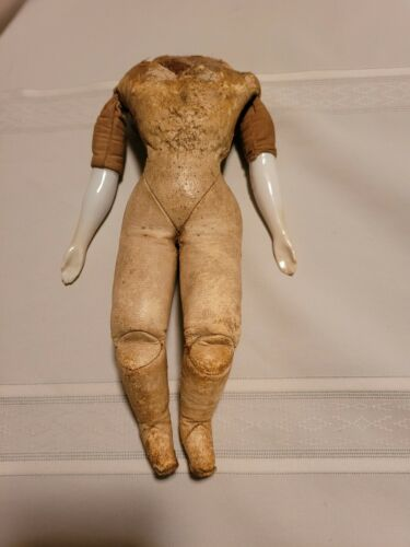 Antique French Fashion Doll Body Kid Leather Sawdust Filled Porcelain Arms 9  - $165.00