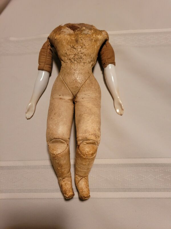 """Antique French Fashion Doll Body Kid Leather Sawdust Filled Porcelain Arms 9"""""""