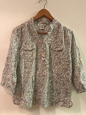 Womens Telluride Clothing Co. Linen blend Cream Blue Paisley Print Henley Top L Blue Cream Clothing