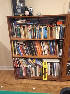 Wood bookshelves and a display case