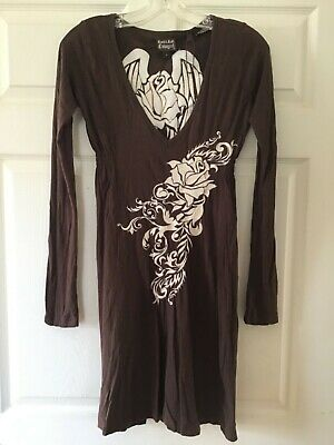 Rock & Roll Cowgirl Western dress, size small, brown , wings roses (Cowgirl Western Dresses)