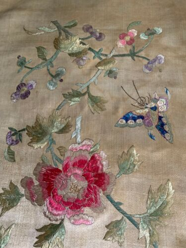 "Antique Finely Hand Embroidered Chinese Silk Panel Butterflies Flowers 35"" x 17"""